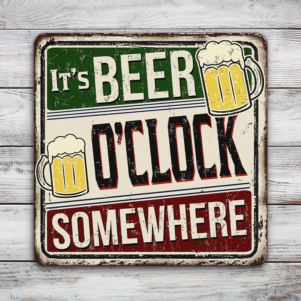 It's Beer O'Clock Somewhere | Blue Hippo Metal Art