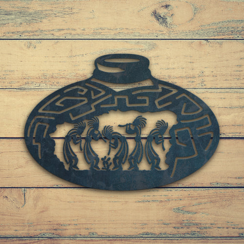 Dancing Kokopellis Pot shape | Blue Hippo Metal Art
