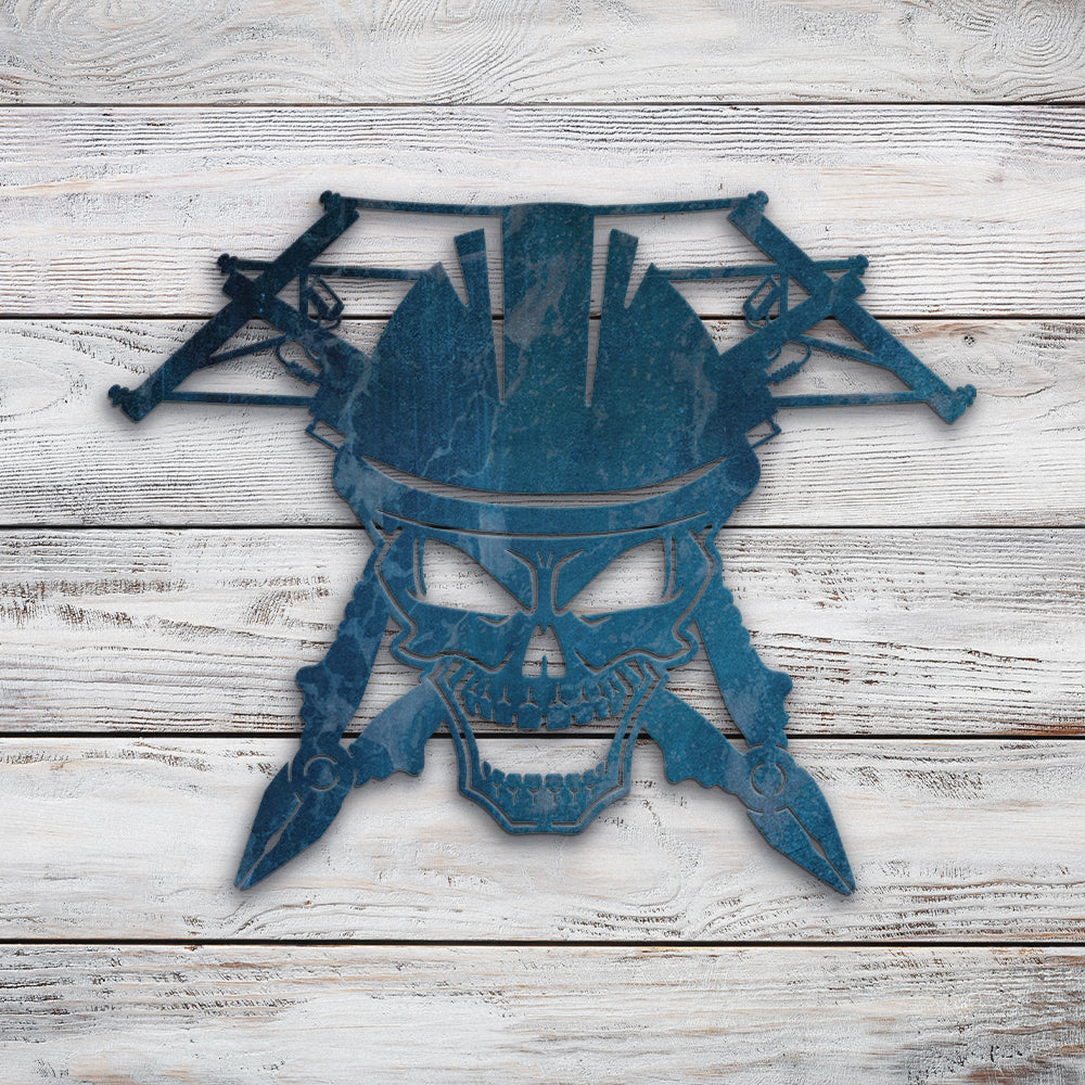 Lineman Electrician Skull | Blue Hippo Metal Art