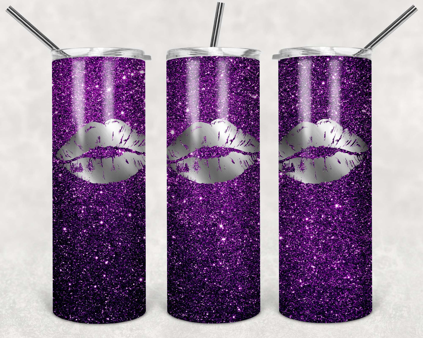 20oz Tumbler - Purple Glitter | Blue Hippo Metal Art
