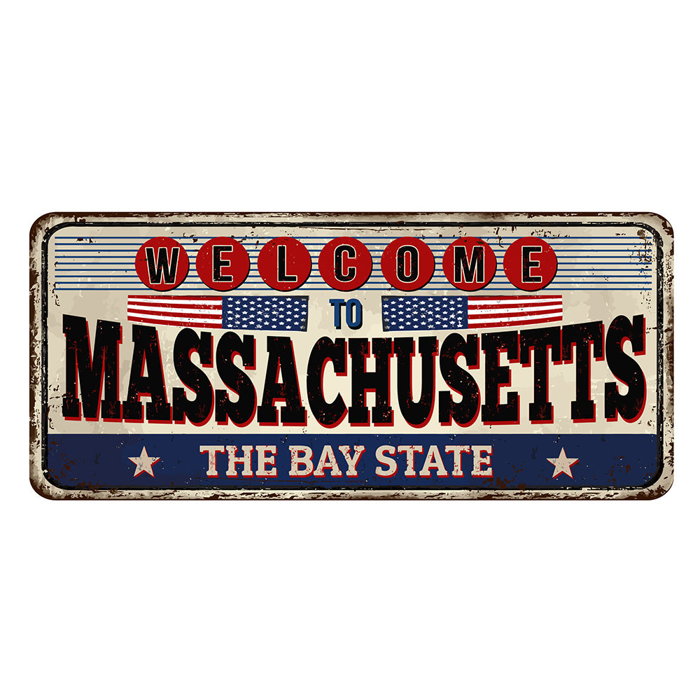 Massachusetts License Plate Sign | Blue Hippo Metal Art