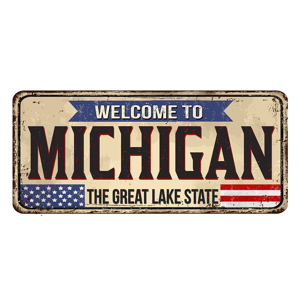 Michigan License Plate Sign | Blue Hippo Metal Art