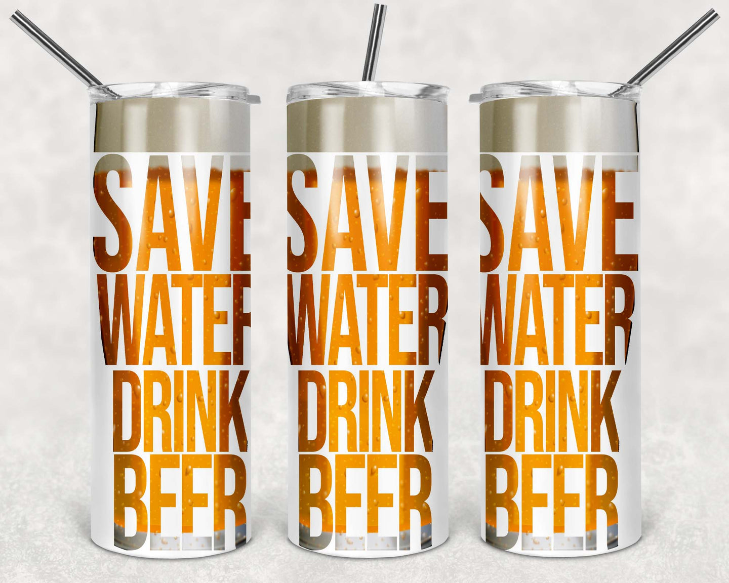 20oz Tumbler - Save Water Drink Beer | Blue Hippo Metal Art
