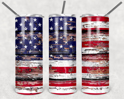 20oz Tumbler - Tattered American Flag | Blue Hippo Metal Art