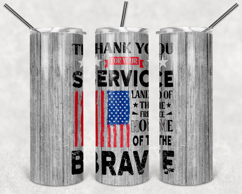 20oz Tumbler - Thank you for your service | Blue Hippo Metal Art