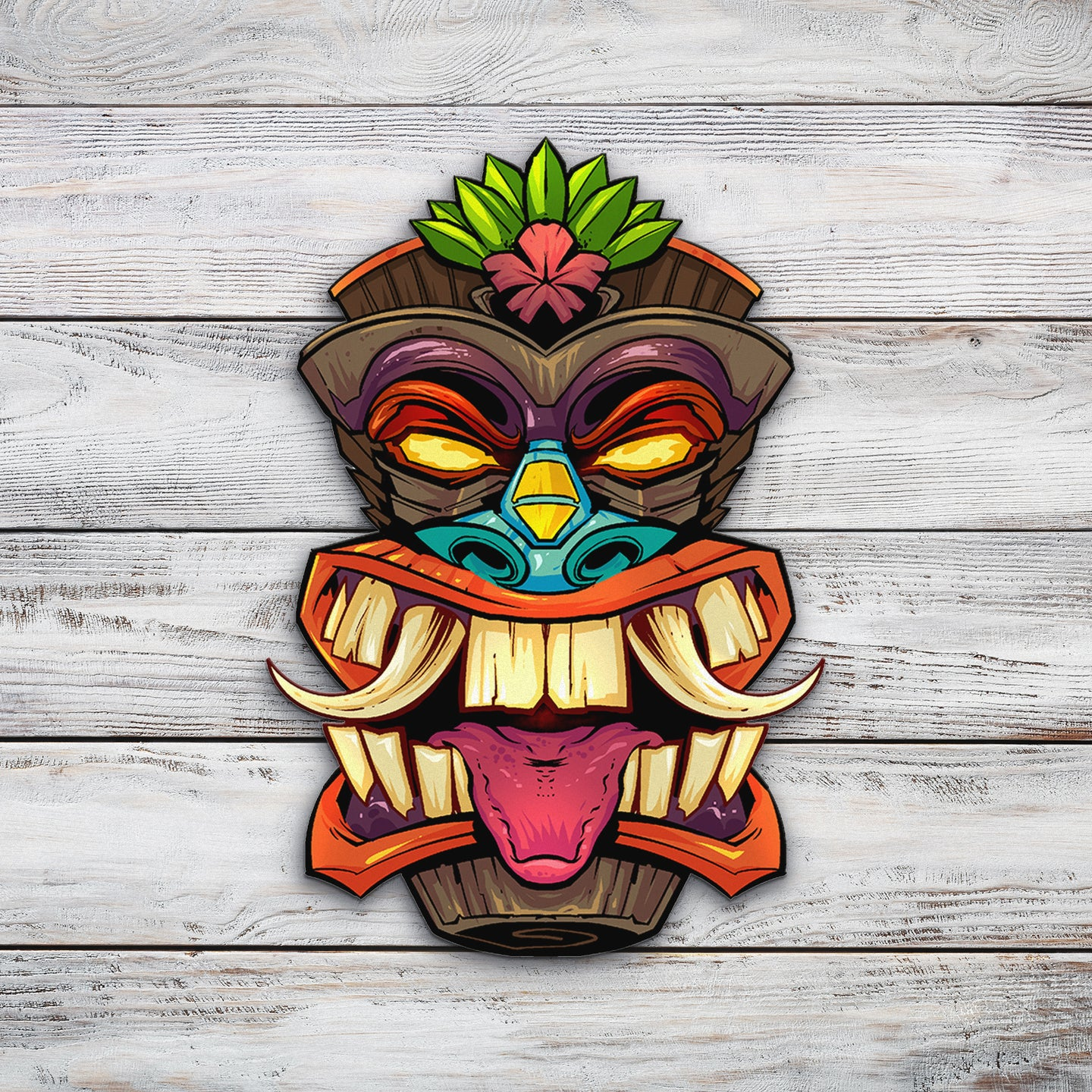 Tiki Head 1 | Blue Hippo Metal Art