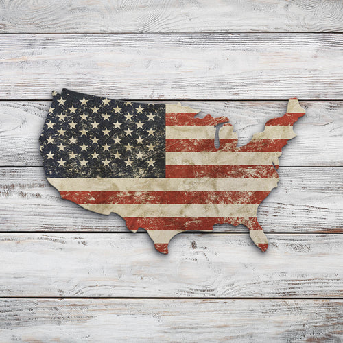 USA Map Faded Flag | Blue Hippo Metal Art