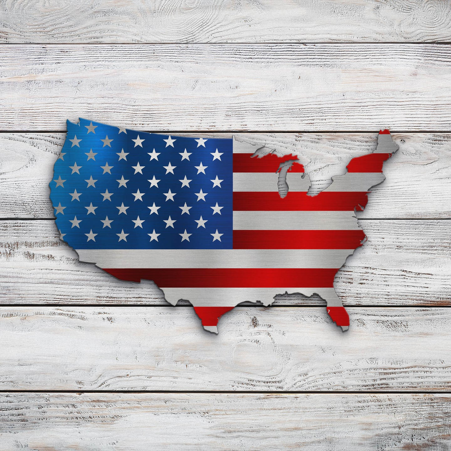 US Map Flag | Blue Hippo Metal Art