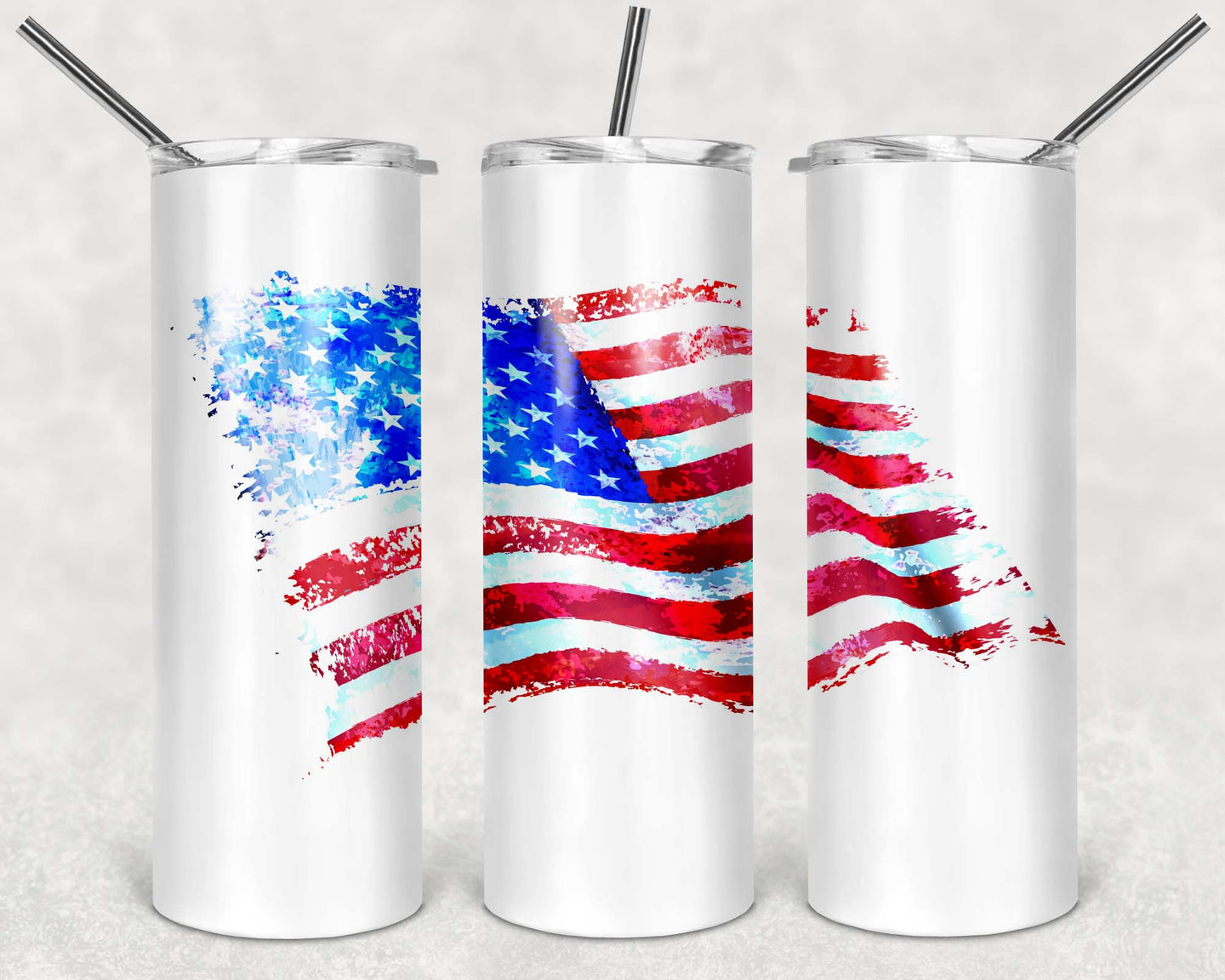 20oz Tumbler - Watercolor American Flag V2 | Blue Hippo Metal Art