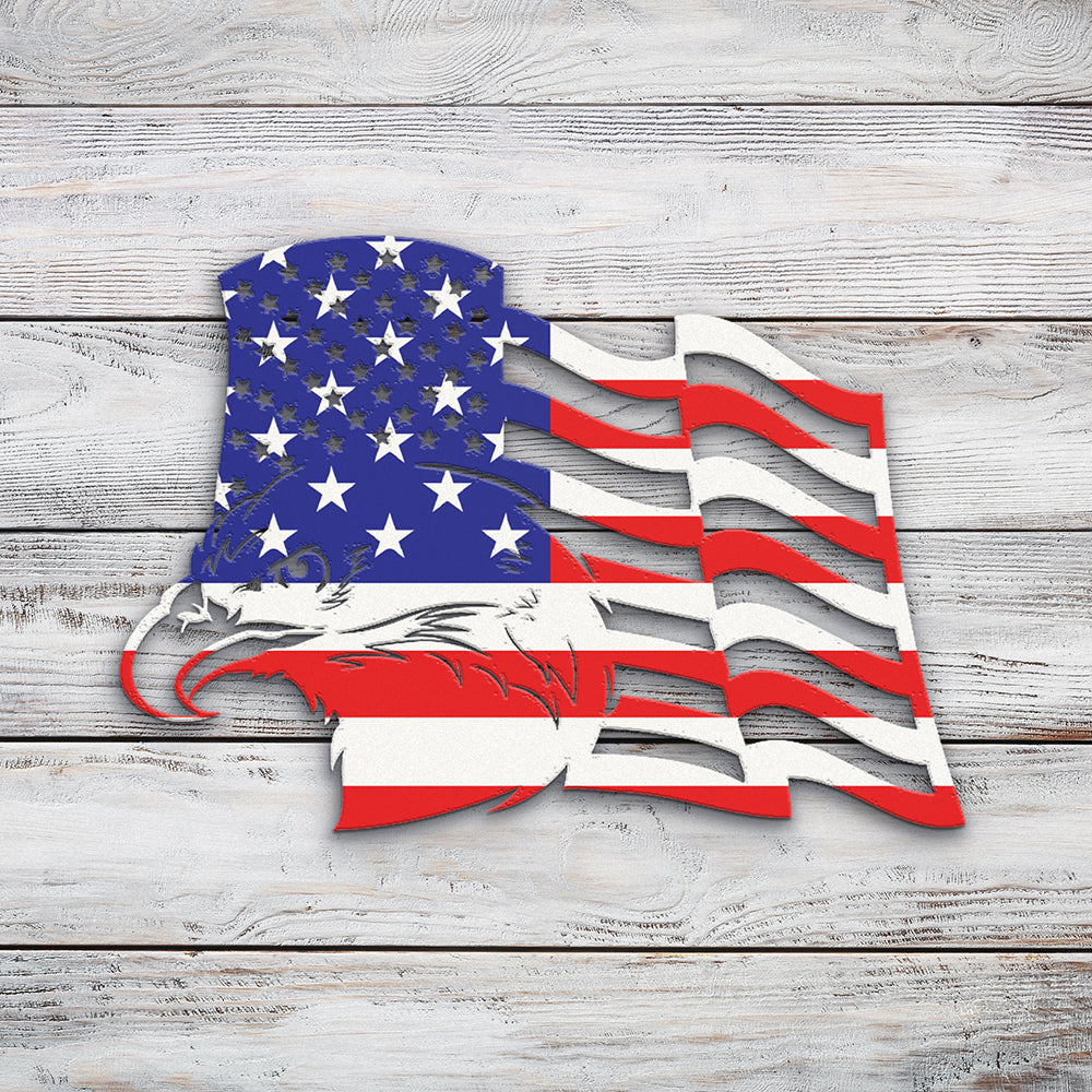 American Flag with Eagle Left | Blue Hippo Metal Art