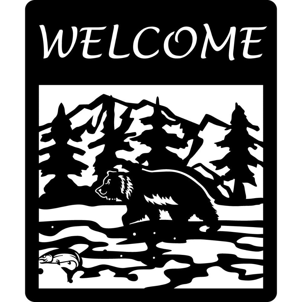 Canadian Welcome Sign V10 | Blue Hippo Metal Art