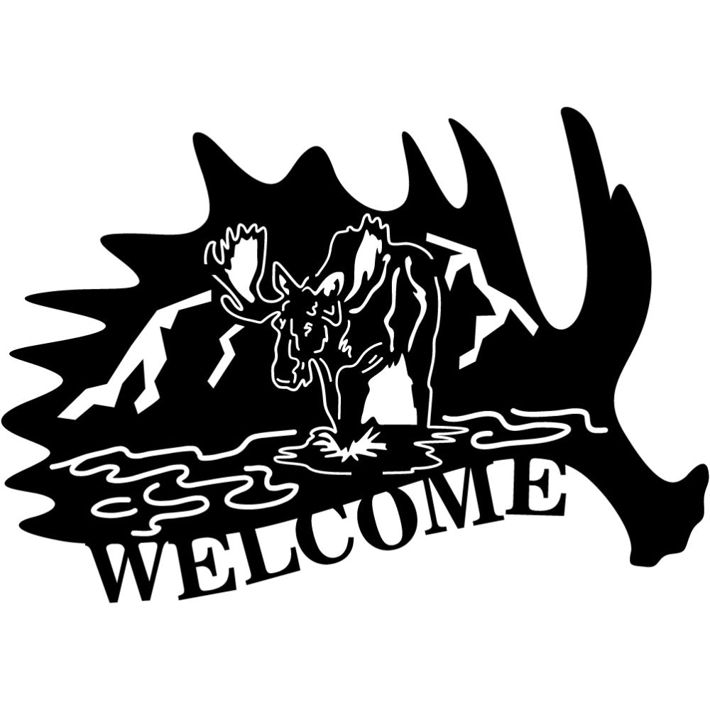 Canadian Welcome Sign V14 | Blue Hippo Metal Art