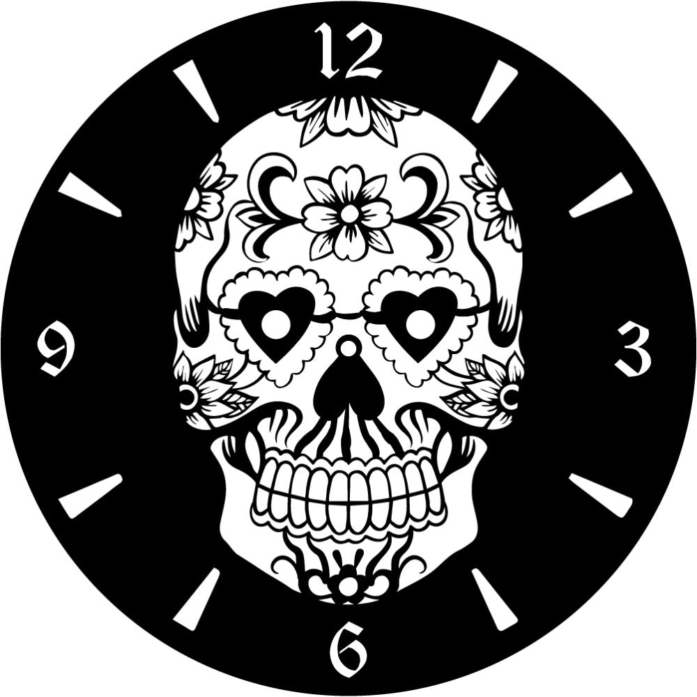 Clock Sugar skull | Blue Hippo Metal Art
