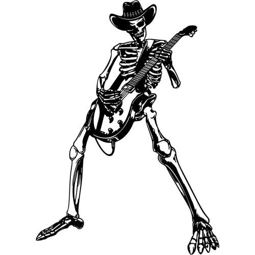 Cowboy Skeleton Guitarist | Blue Hippo Metal Art