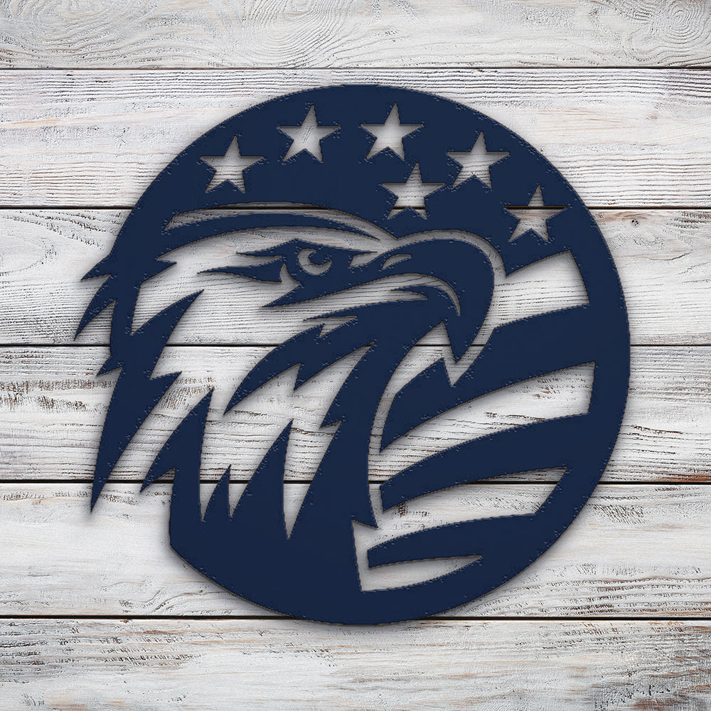 Eagle Flag Circle V2 | Blue Hippo Metal Art