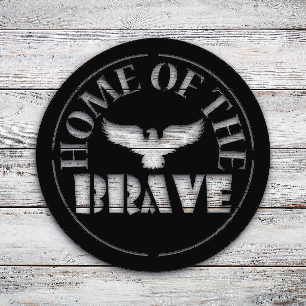 Home of the brave circle | Blue Hippo Metal Art