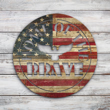 Load image into Gallery viewer, Home of the brave circle | Blue Hippo Metal Art