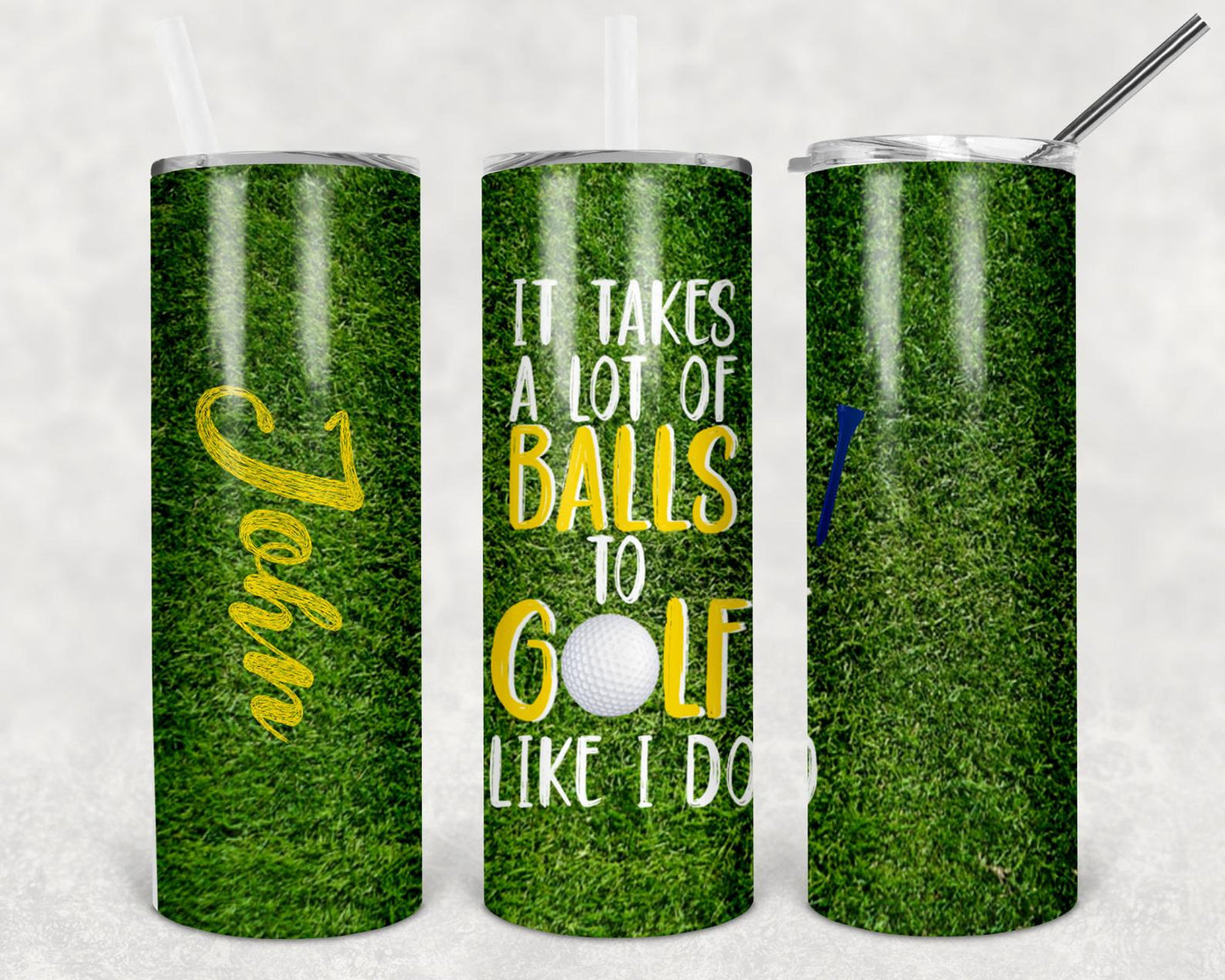 20oz Tumbler - It takes alot of balls to golf like I do | Blue Hippo Metal Art