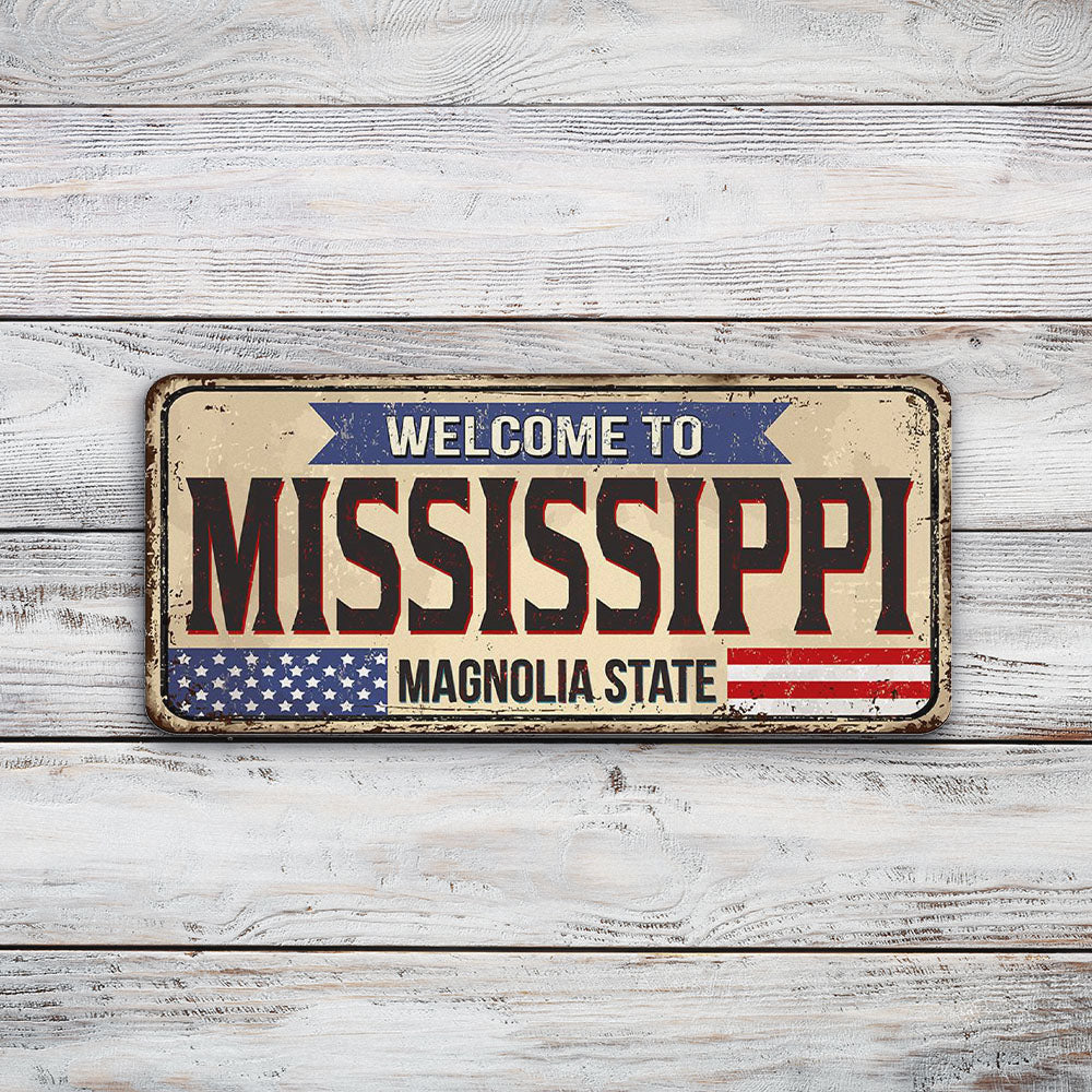 Mississippi License Plate Sign | Blue Hippo Metal Art