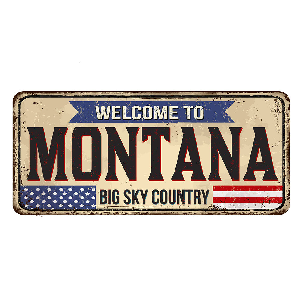 Montana License Plate Sign | Blue Hippo Metal Art