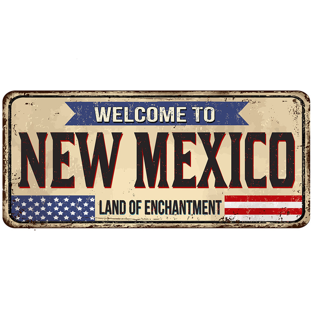 New Mexico License Plate Sign | Blue Hippo Metal Art
