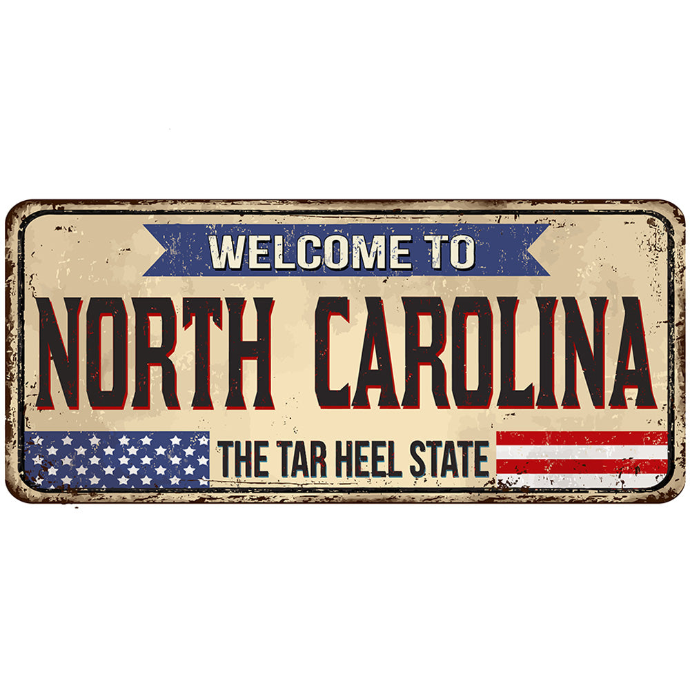 North Carolina License Plate Sign | Blue Hippo Metal Art