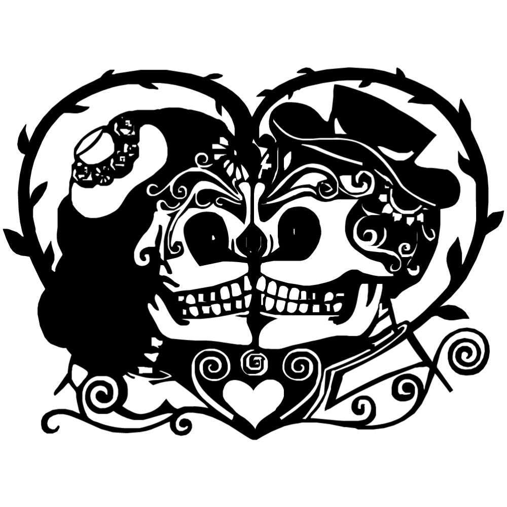 Sugar Skull Heart | Blue Hippo Metal Art
