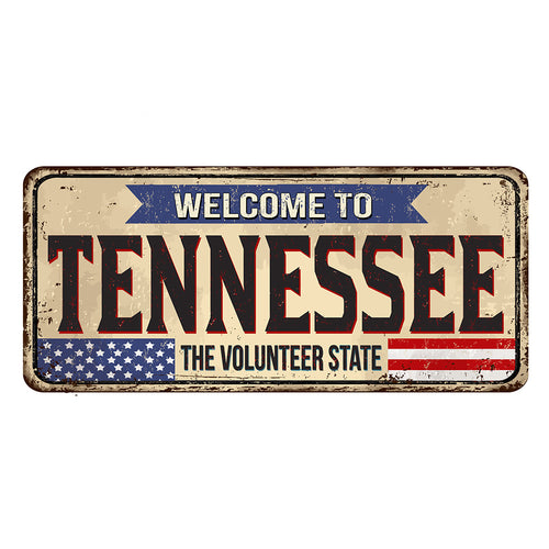 Tennessee License Plate Sign | Blue Hippo Metal Art