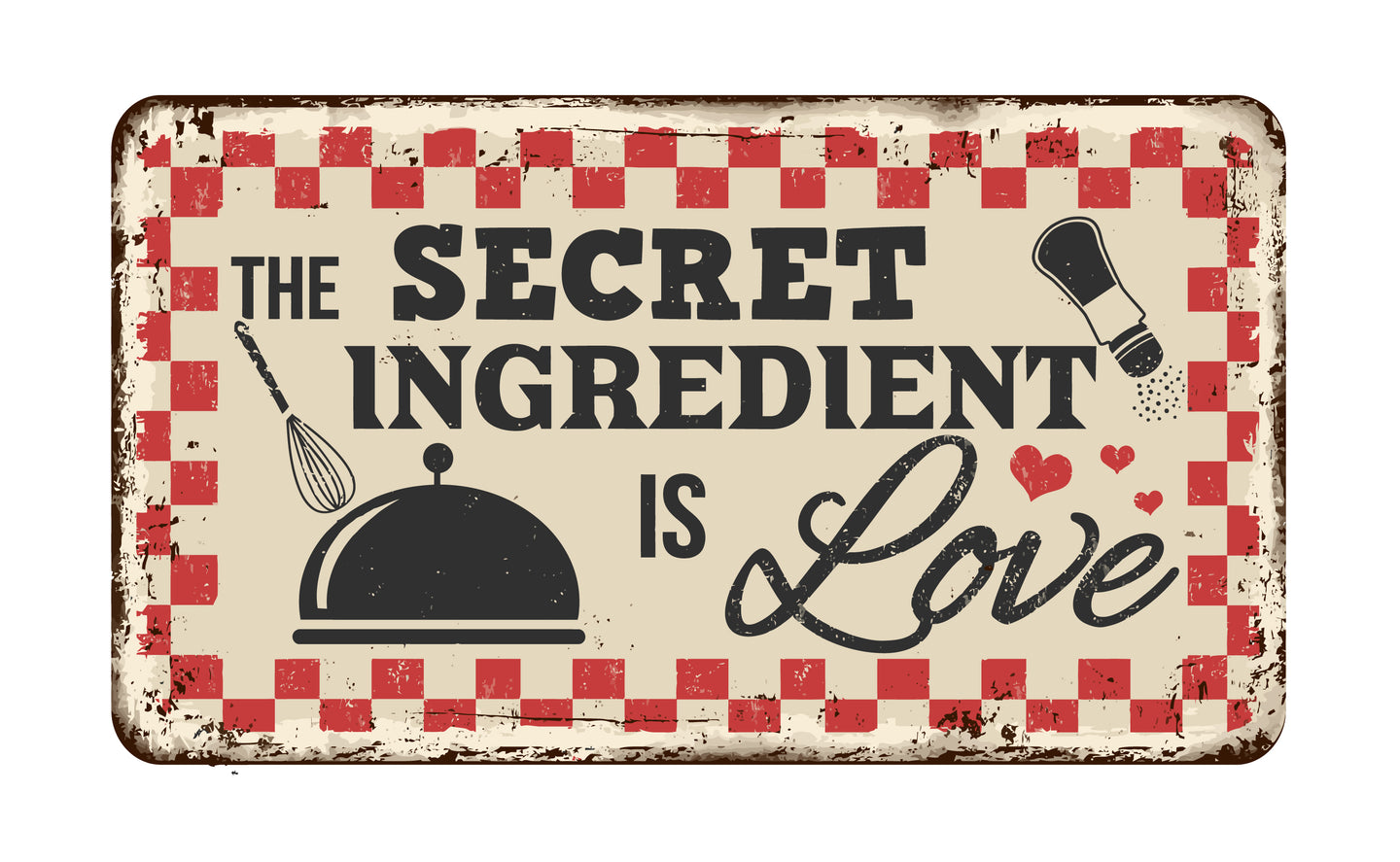The Secret Ingredient is Love Sign | Blue Hippo Metal Art