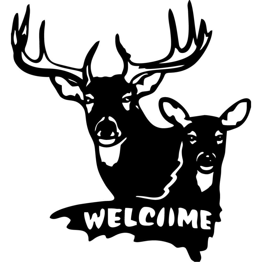 Welcome Sign Deer | Blue Hippo Metal Art