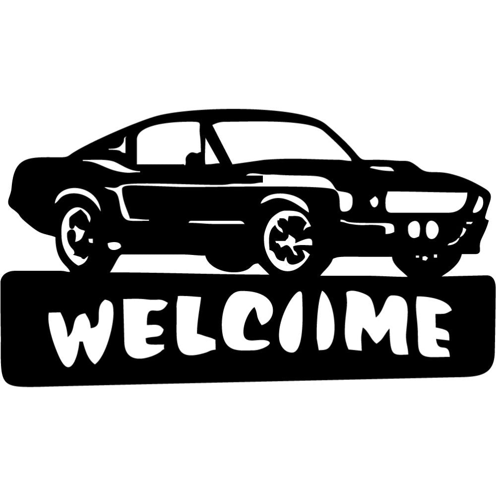 Welcome Sign Muscle Car with scoop | Blue Hippo Metal Art