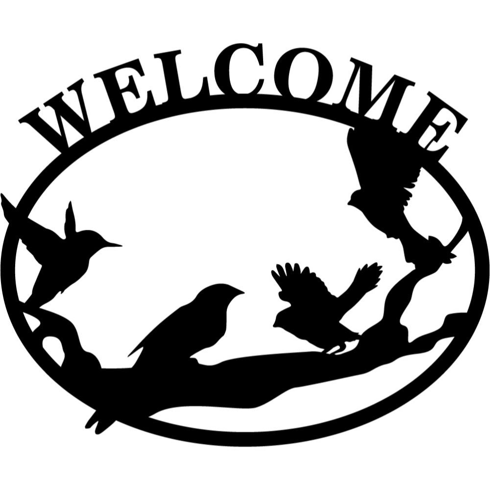 Welcome Sign V1 | Blue Hippo Metal Art