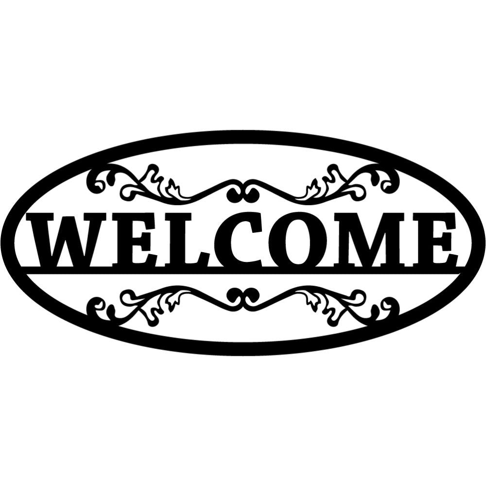 Welcome Sign V11 | Blue Hippo Metal Art