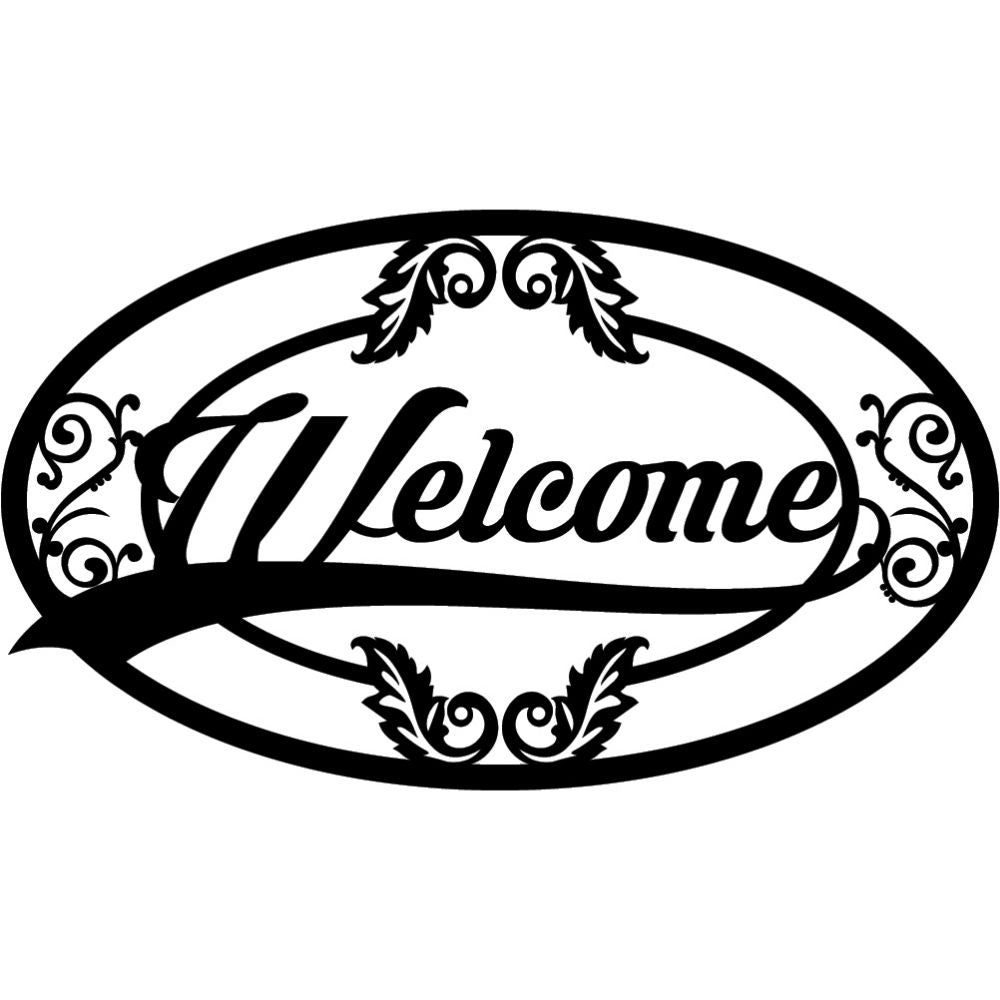 Welcome Sign V12 | Blue Hippo Metal Art