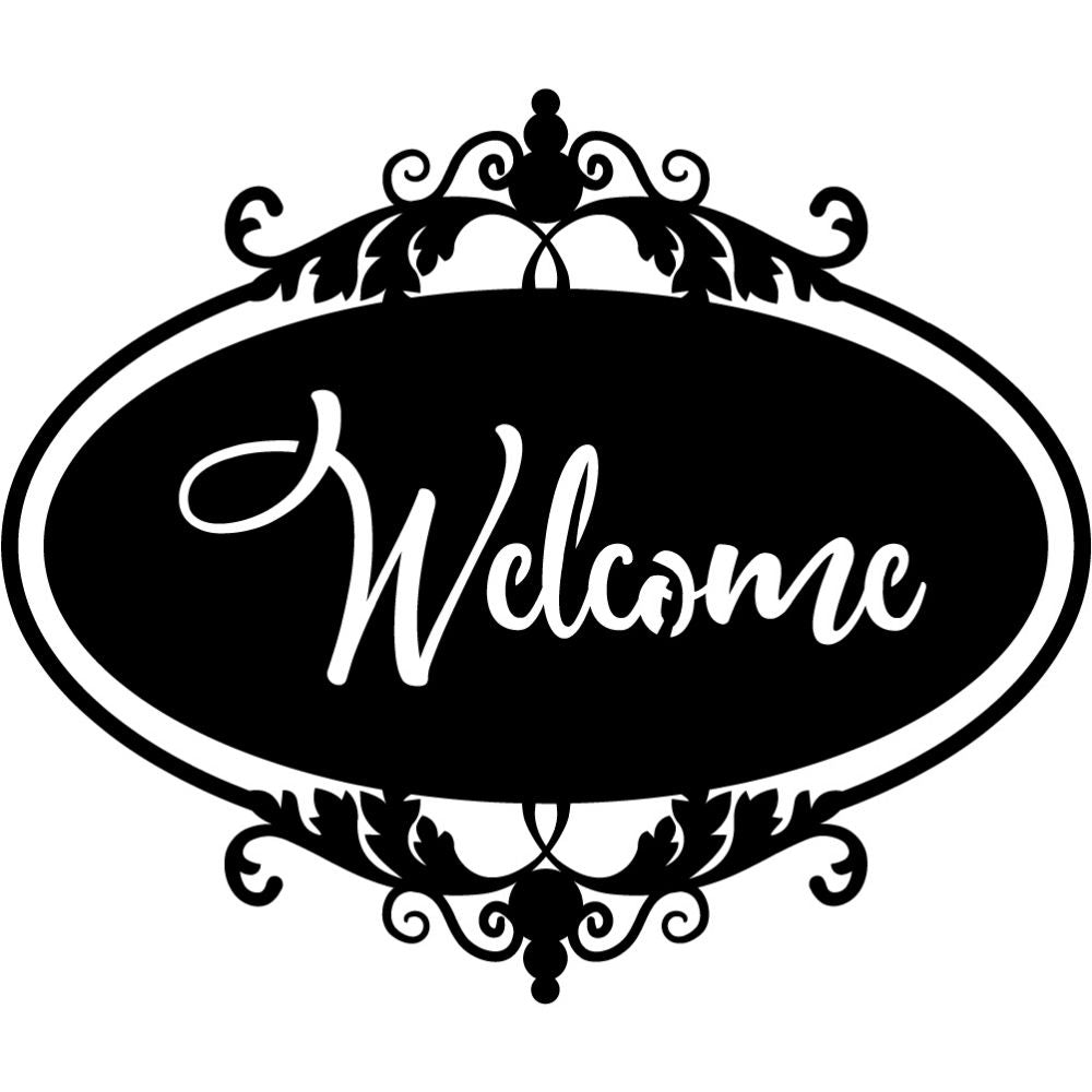 Welcome Sign V14 | Blue Hippo Metal Art