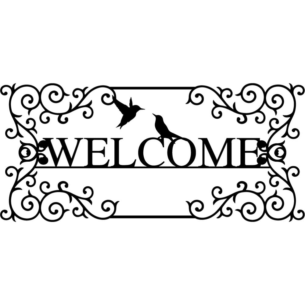 Welcome Sign V21 | Blue Hippo Metal Art
