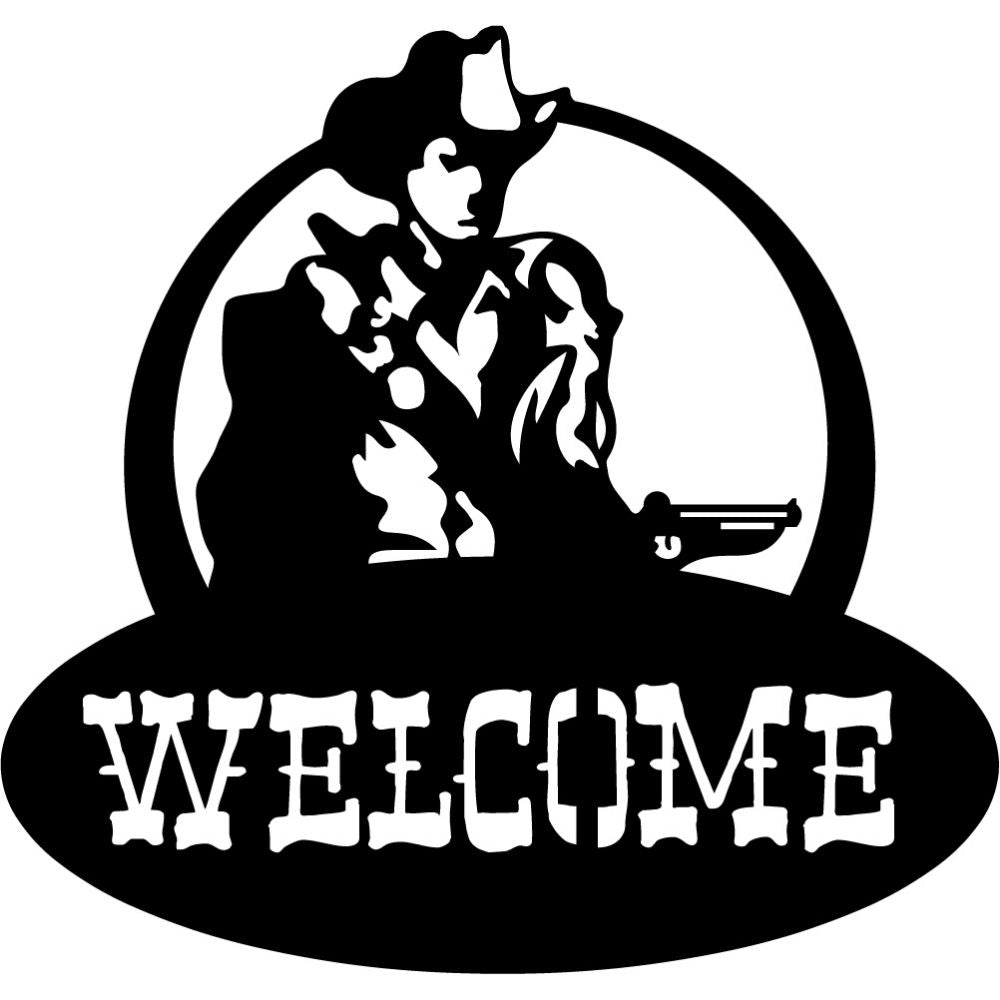 Welcome Sign V25 | Blue Hippo Metal Art