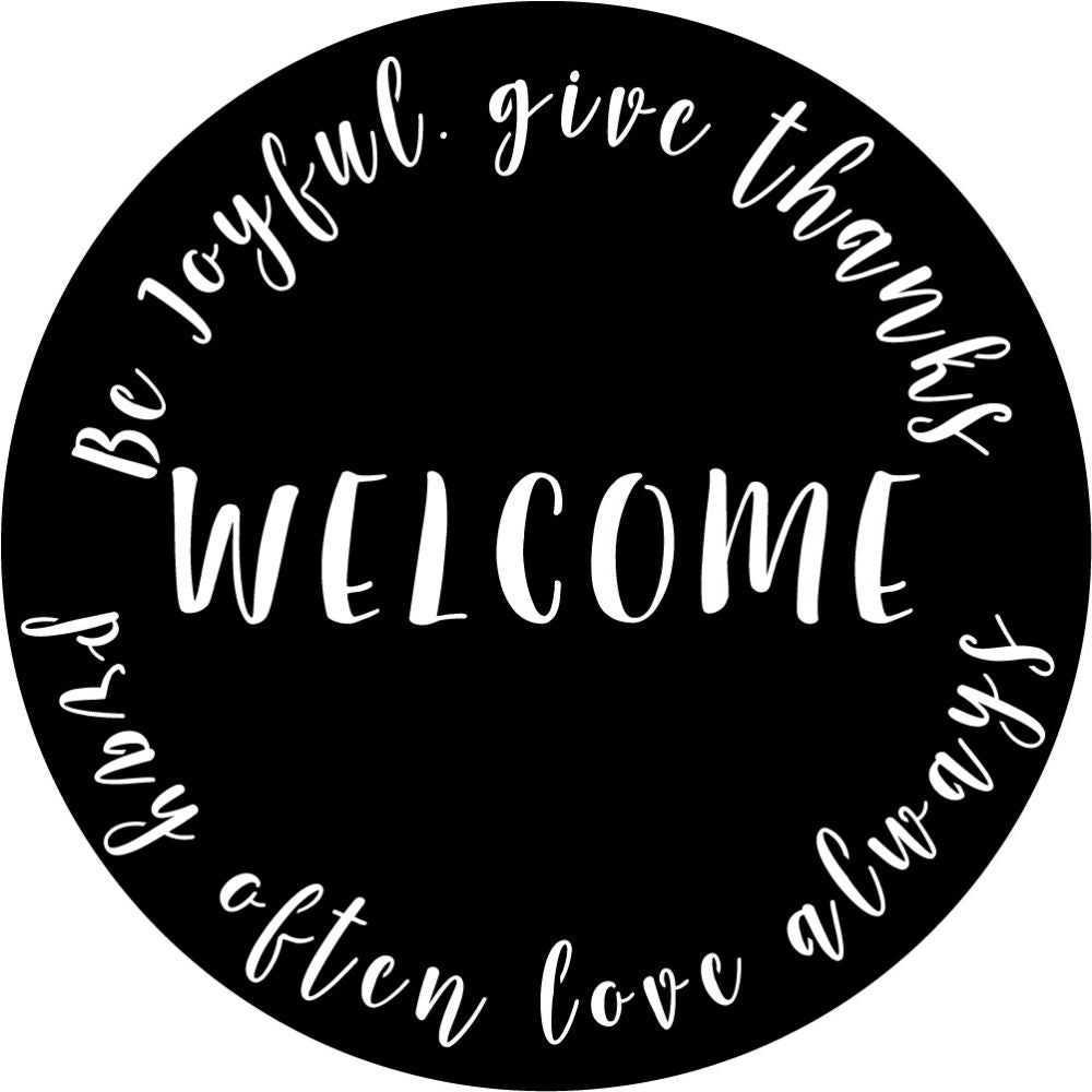 Welcome Sign V33 | Blue Hippo Metal Art