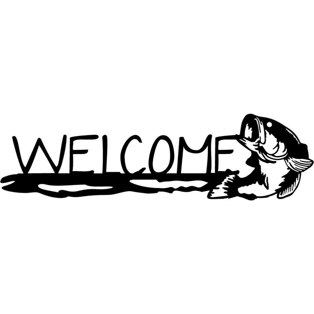 Welcome Sign V42 | Blue Hippo Metal Art