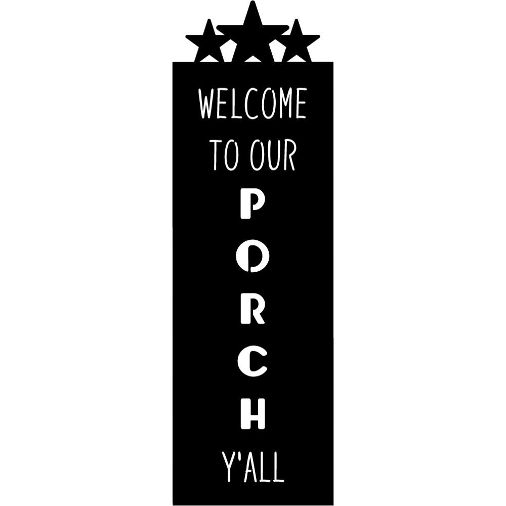 Welcome Sign V71 | Blue Hippo Metal Art
