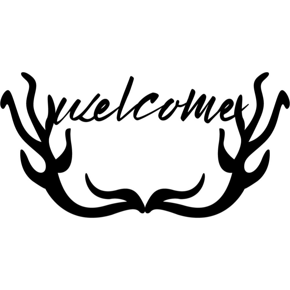 Welcome Sign V75 | Blue Hippo Metal Art