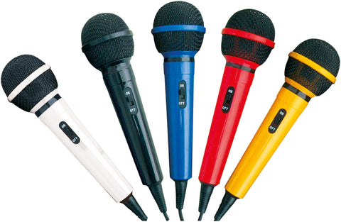 SET OF 5 MULTI-COLOURED KARAOKE MICROPHONES with leads