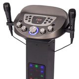 Easy Karaoke Smart Bluetooth Pedestal Karaoke System with Light Effects  + 2 Mics