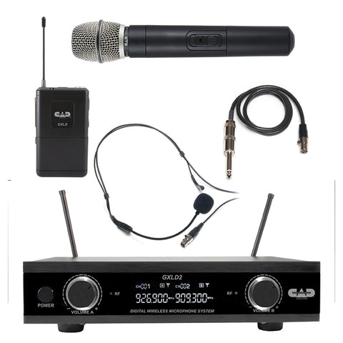 CAD GXLD2 Digital Combo Microphone & Body Pack Wireless System - AH Frequency Band