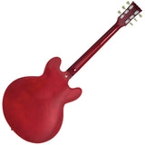 Vintage VSA500 ReIssued Semi Acoustic Guitar ~ Left Hand Cherry Red