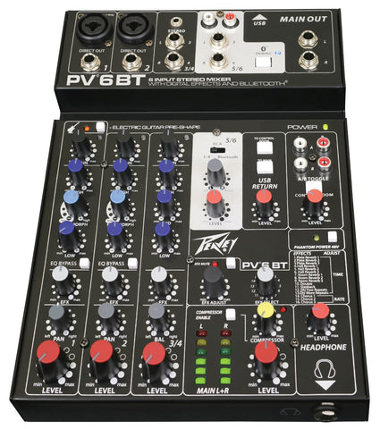 Peavey PV6BT 6 channel compact mixer with digital effects and Bluetooth