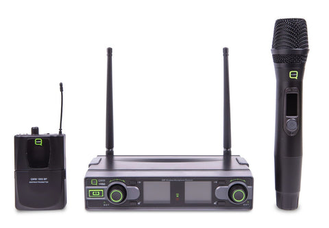 Q AUDIO QWM1950 HH + BP - UHF BELT PACK & handheld wireless microphone set.