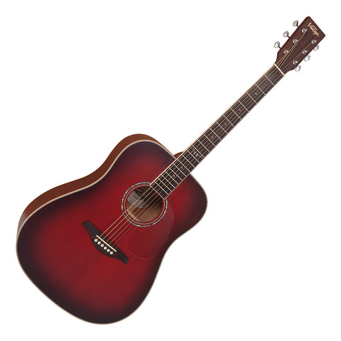 Vintage V501 Acoustic Dreadnought ~ Satin Burgundy Burst