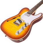 Vintage V72 ReIssued Custom Spec TL Electric Guitar ~ Flame Tobacco Burst