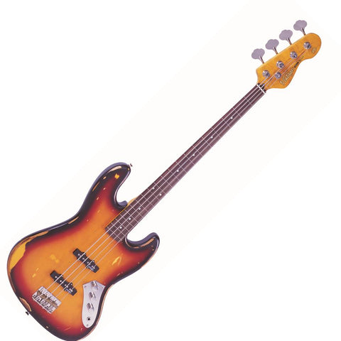 Vintage V74 ICON Fretless Bass ~ Sunset Sunburst